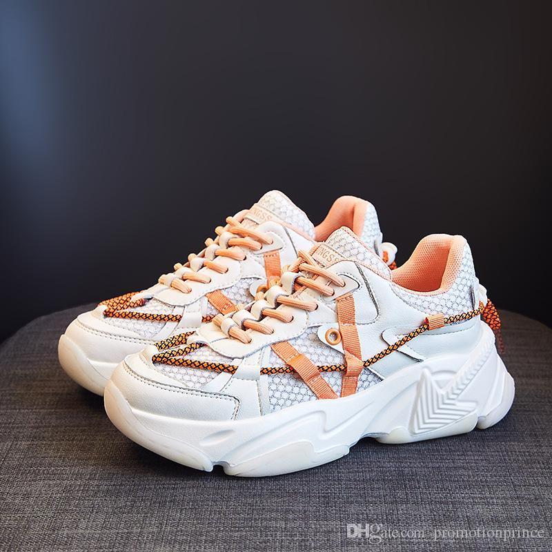 Sapatos de couro genuíno de espessura inferior alta qualidade sapatos de microfibra plana Movimento Retro Clunky Sneaker aumento em altura resistir moda feminina
