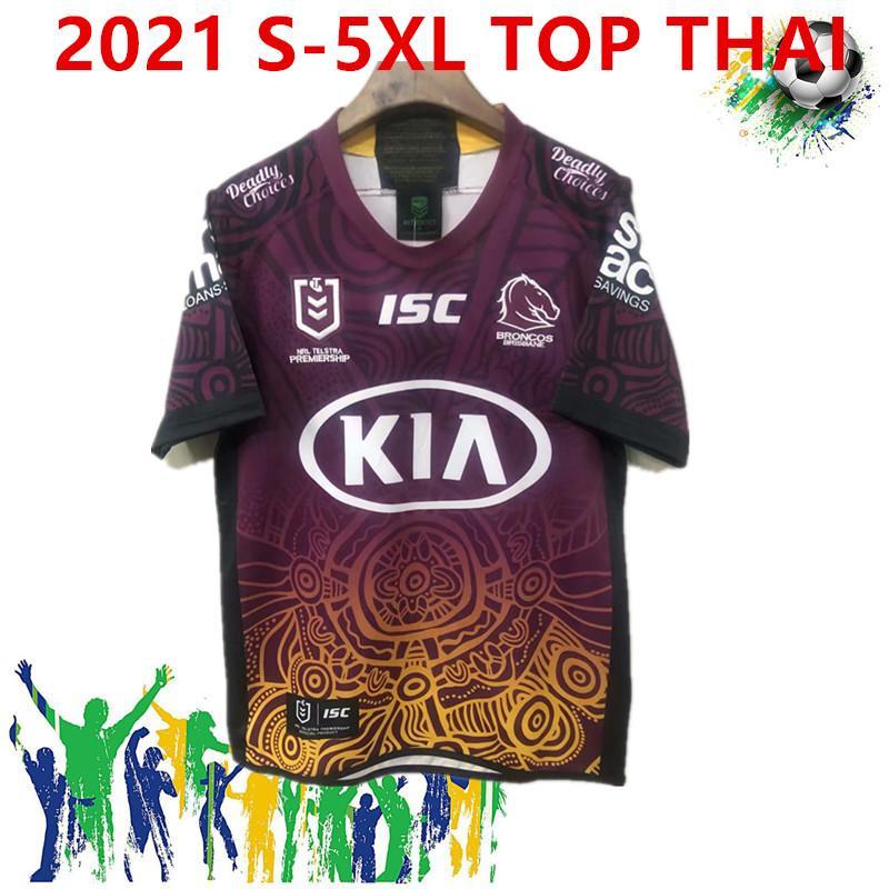 2021 Nouveau Brisbane Broncos Rugby Jersey Brisbane Broncos Anzac 2019 Hommes Jériers autochtones Australie NRL Rugby League Jersey Taille S-5XL