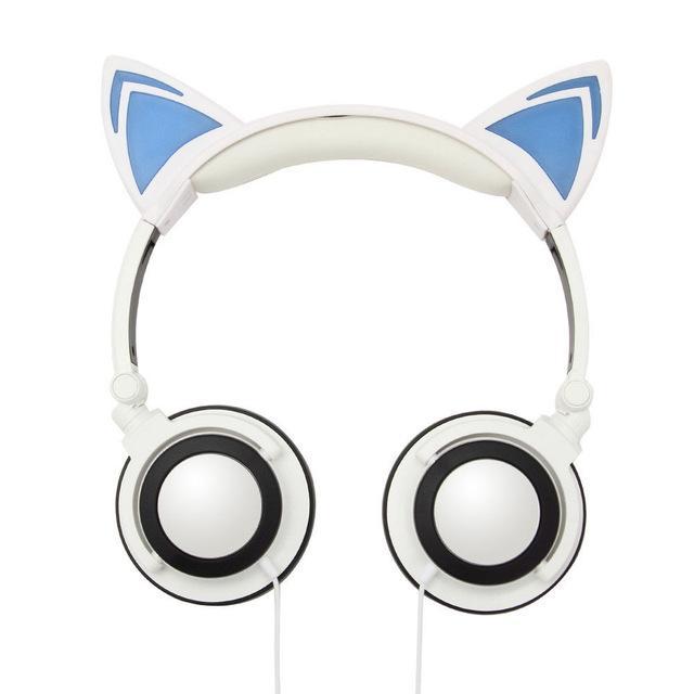 cuffie dell'orecchio di gatto pieghevole Glowing bambini lampeggiante la cuffia LED luce Oltre auricolari dell'orecchio per computer portatile del PC Phone