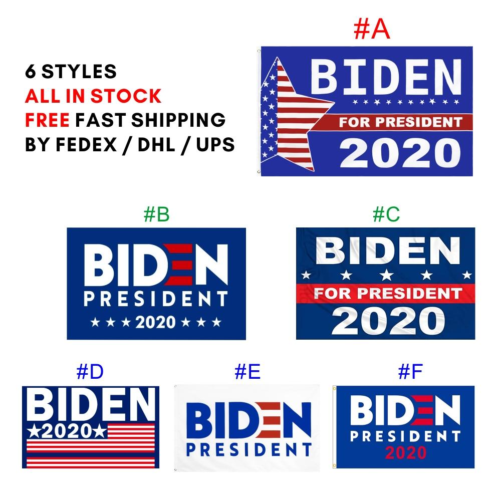 Trasporto più veloce 3 * 5ft bandiera 90 * 150cm all'ingrosso US Joe Biden 2020 Bandiera 6 stili Bandiere BIDEN Presidente 2020 del poliestere per il presidente Election