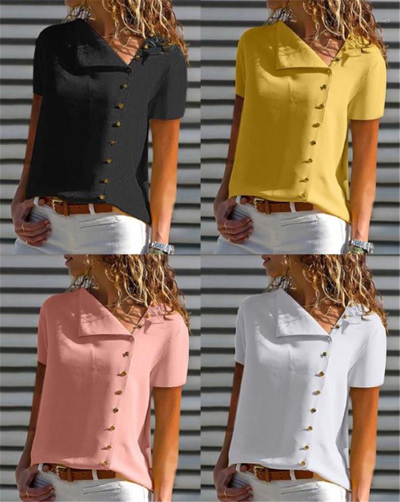Polos solto Pescoço V manga curta camisa de chiffon blusa cor sólida Tops Designer Feminino Vestuário Womens