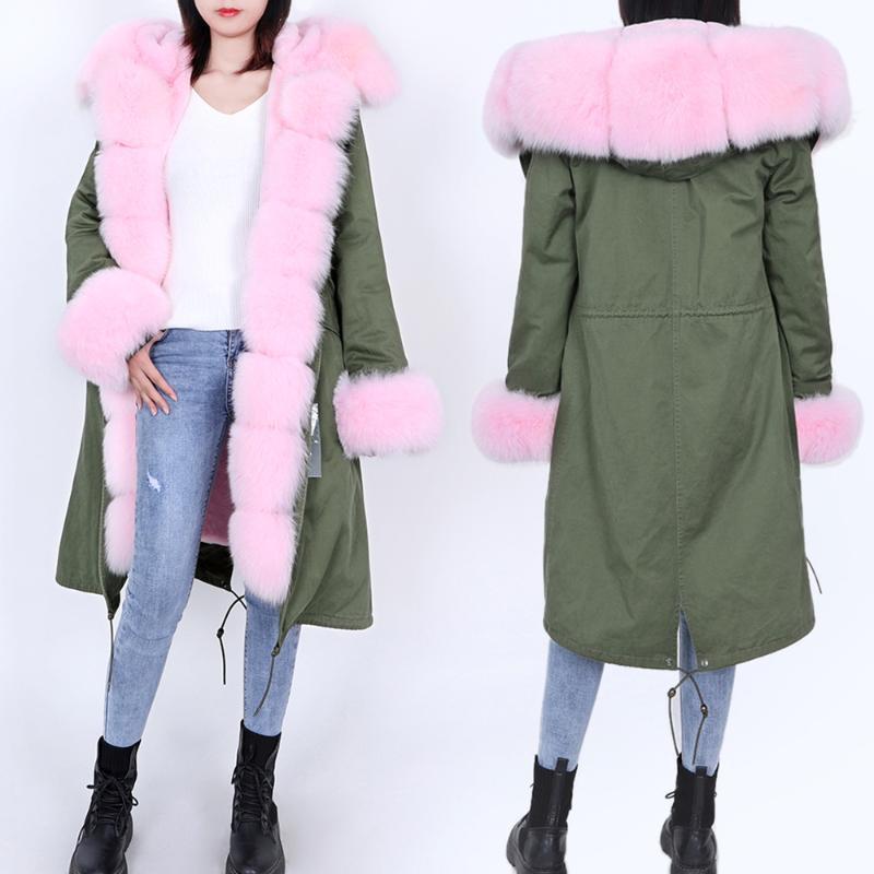 Mode Frauen natürliche Wollfutter mit Kapuze langen Mantel Parka Mantel Jacke Armee grün großen Pelzkragen Winter DHL