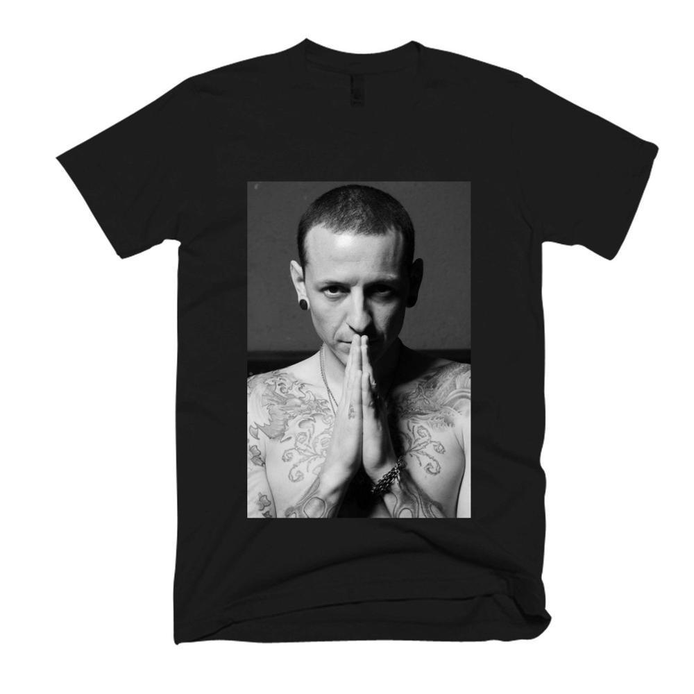 Chester Bennington Rip da Nova Moda T Homens shirt letra T gráfico shirt Homens Casual preto de algodão de manga curta camiseta