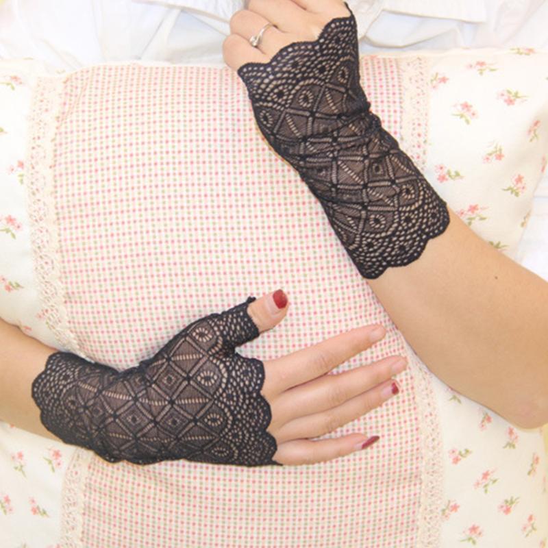 Protector solar con Encanto guantes sin dedos de las mujeres de conducción anti-ultravioleta Guantes partido del cordón
