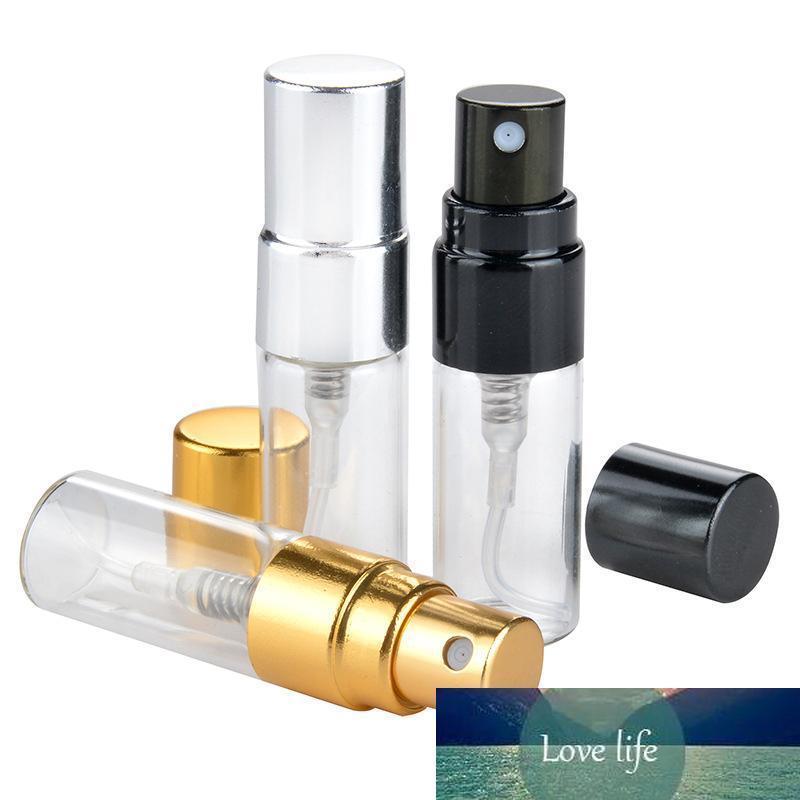 3ML Voyage bouteille de parfum en verre avec UV Rechargeables Pulvérisateur cosmétiques Pulvérisateur Noir Argent Or Cap
