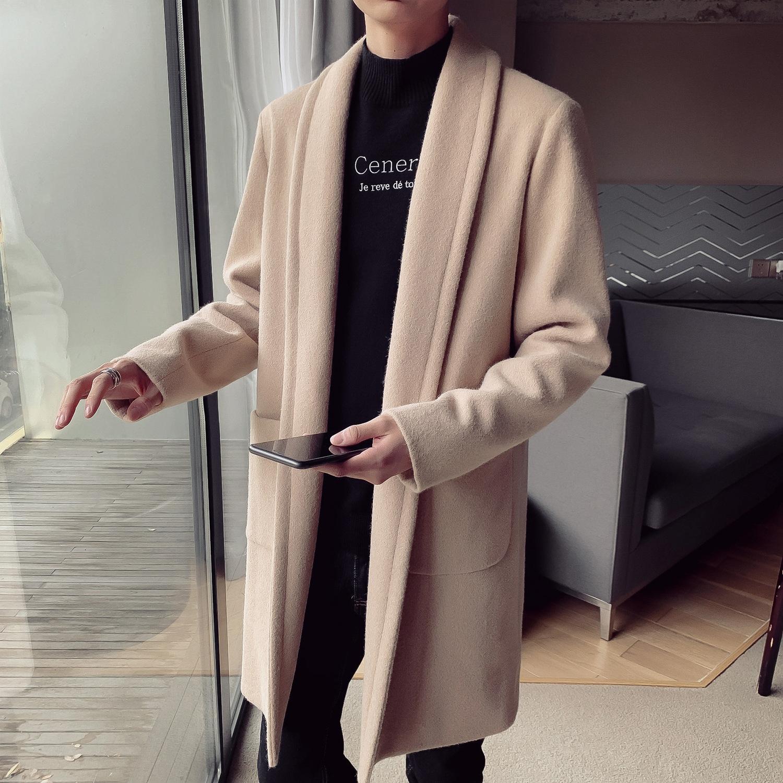 QcTi2 gbGuC 2019 Mantel-Männer Windjacke koreanischen Stil Mitte der Länge der Woll Männer beiläufige Art und Weise Windjacke New coatfree Mantel