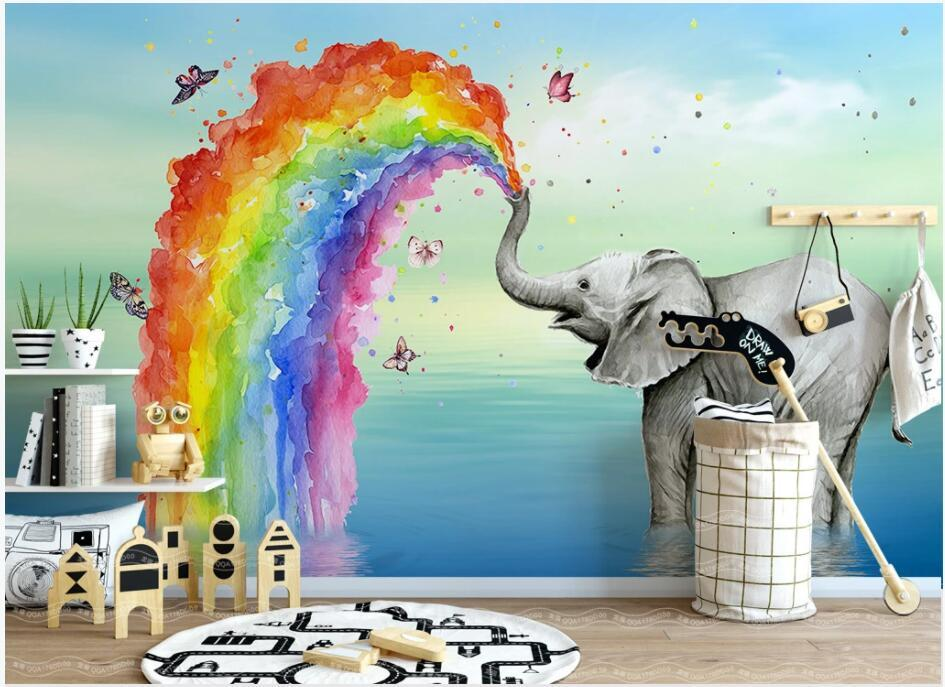 custom mural 3d photo wallpaper Simple cute elephant butterfly rainbow children's room background home decor wallpaper in the living room