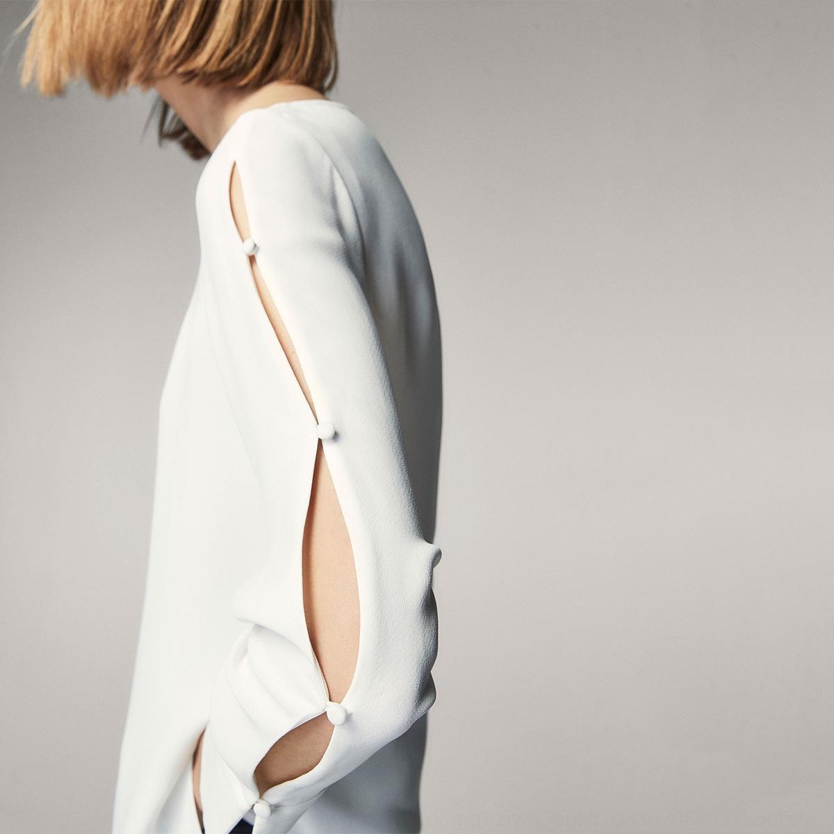 tzsEu cor Haoduoyi2020 de mangas compridas ET8J6 outono nova moda sólida shirt das mulheres dividir lado camisa doce
