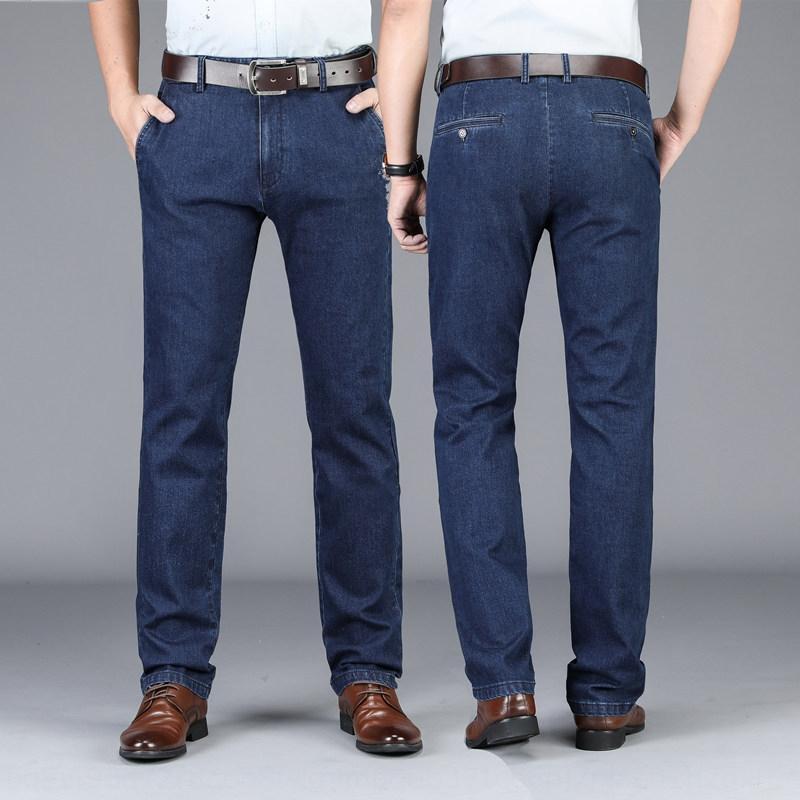 F01uW 2019 осени и зимой вертикальная мужской стрейч джинсы мыть хлопок высокой талии бизнес среднего возраста свободных и случайные джинсы мужчин