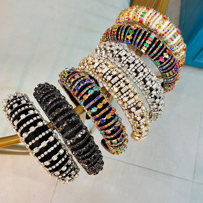 Completa Diamante acolchoado barroco Headbands luxo cristal Hairbands para acessórios Mulheres Rhinestone Tiara Bling cabelo 9 estilos