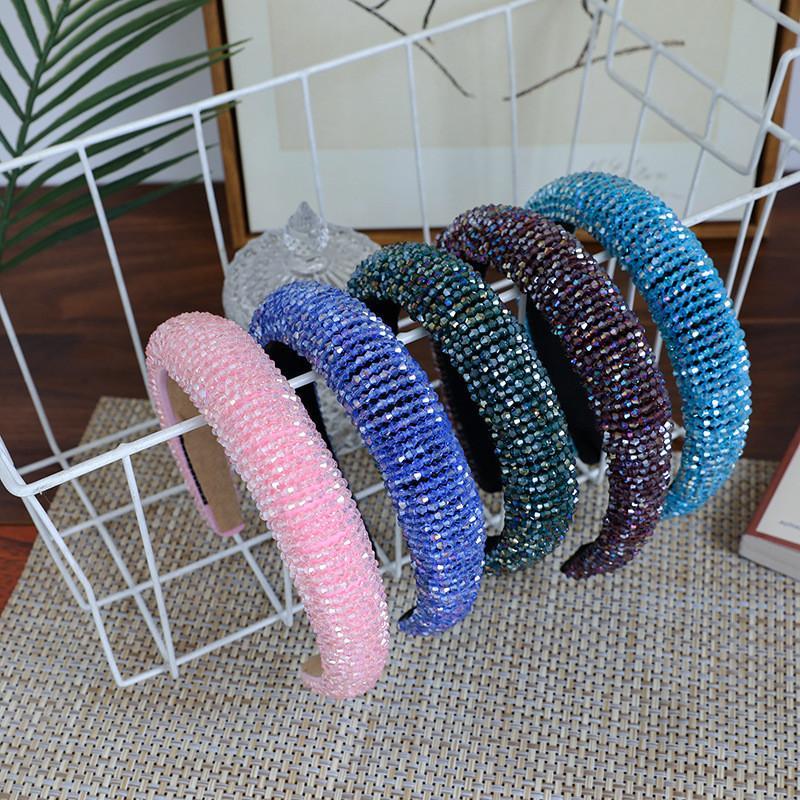 Fasce per Capelli cristallo completa per le donne Lady lucido luminoso lusso imbottito diamante dei capelli della fascia del cerchio dei capelli Accessori di moda