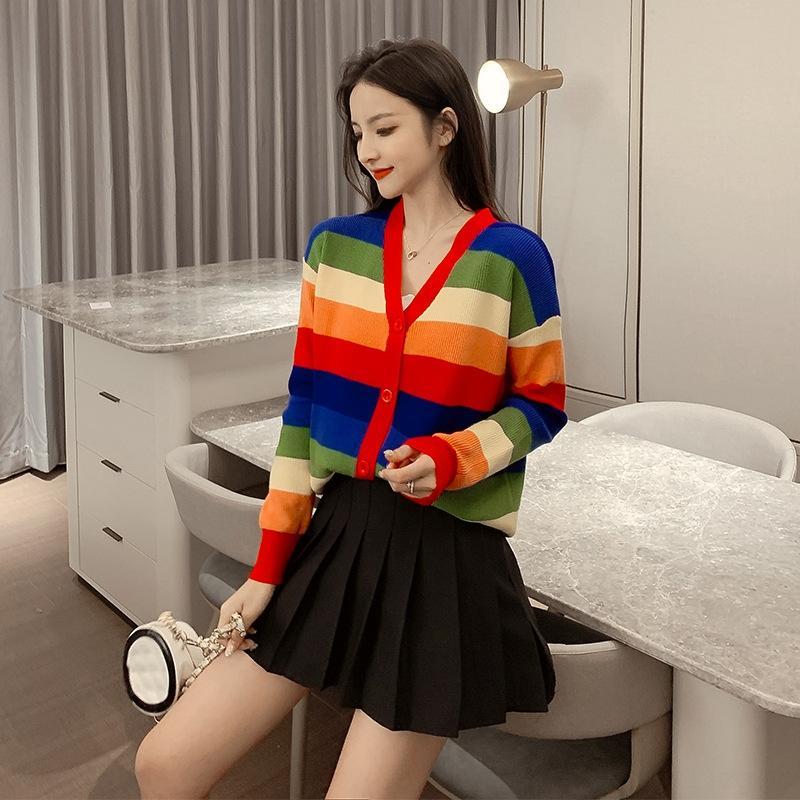 2019 Outono / Inverno New coreano Brasão estilo pulôver do arco-íris solta manga longa pullover vento preguiçoso Net infravermelho malha casaco cardigan