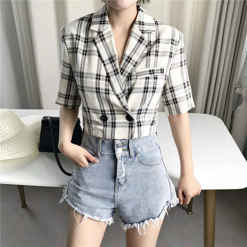 women casual plaid print cotton linen short blazers female 2020 autumn summer stylish short sleeve jacket outwear womens blazers