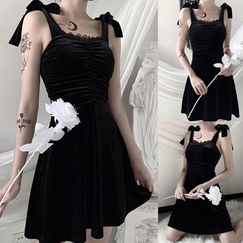 Robe rétro gothique Robe noire Punk Party Femme manches Une ligne sexy dos nu Robes à manches longues Robes Casual pour les juniors Gradua XX2j #