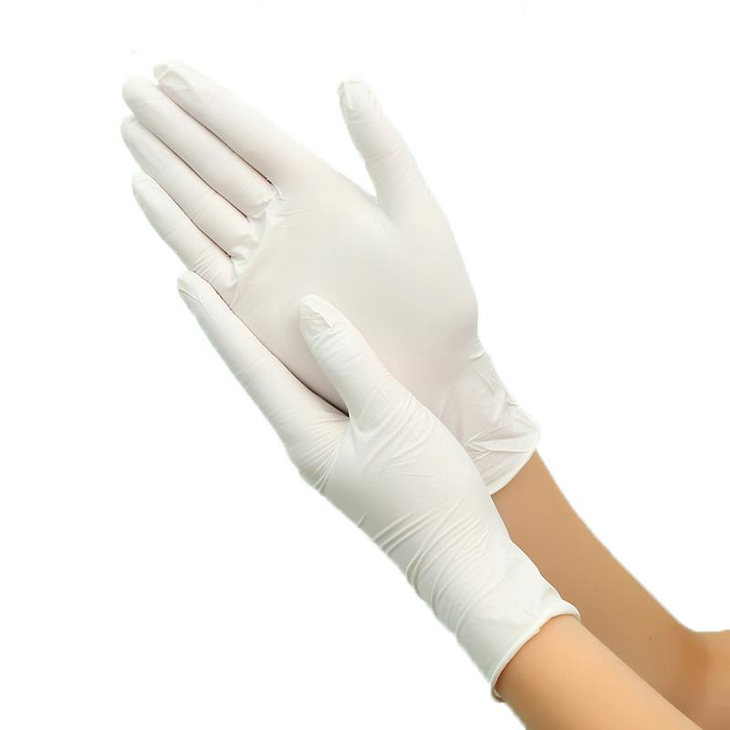Guanti in lattice monouso 100pcs Bianco antisdrucciolevoli acidi ed alcali Laboratorio lattice di gomma guanti per uso domestico Prodotti per la pulizia Y200421