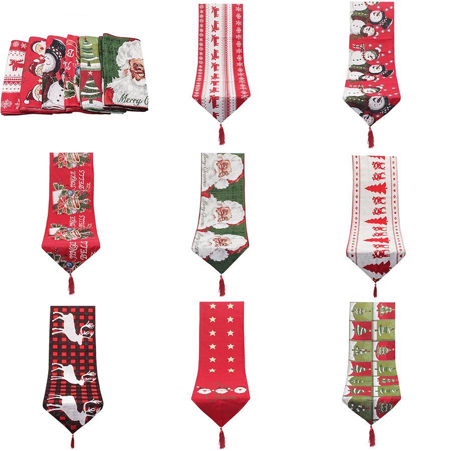 عيد الميلاد مفرش المائدة عيد الميلاد الجدول عداء 35x178cm القطن والكتان التطريز عيد الميلاد الجدول ديكورات سانتا SLK نمط XD24002