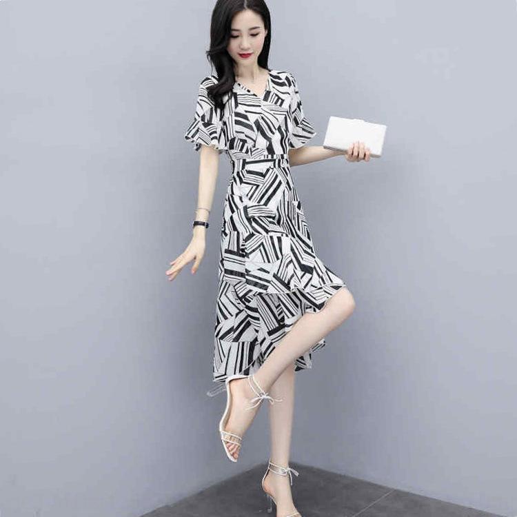 Şifon 2020 Yaz yeni kadın kısa kollu bel zayıflama mizaç küçük elbise bayan elbise cmERq çiçek