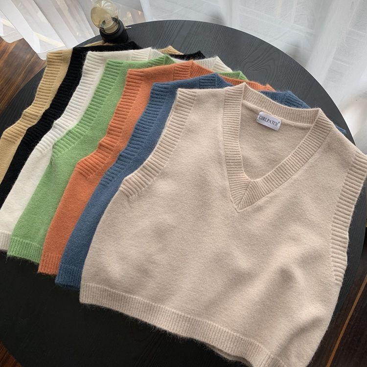 2020 Autumn Retro Solid Color Plüsch und Samt V-Ausschnitt Wollstrickweste Damen High Waist Short I-Sshaped Ärmel Pullunder