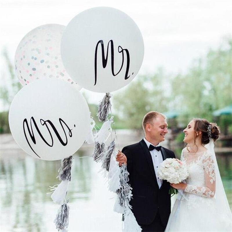 36 Inch balões Homem Fotografia de casamento mulher Prop airballoon Sr Sra Inglês Cartas Padrão Balão New Arrival 5DH L1