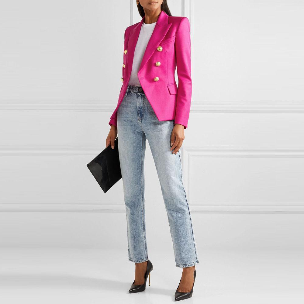Feminine Blazers Femme Pink Blue White Black 2019 Women LMXOO Suit jacket Female Ladies Long Sleeve Elegant #z56789waist T200817