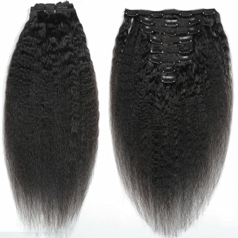 cabelo reto clipe não transformados afro Kinky em extensões de cabelo 120 gramas mongol Virgem humana cabelo Africano americanos Remy clips pretas naturais