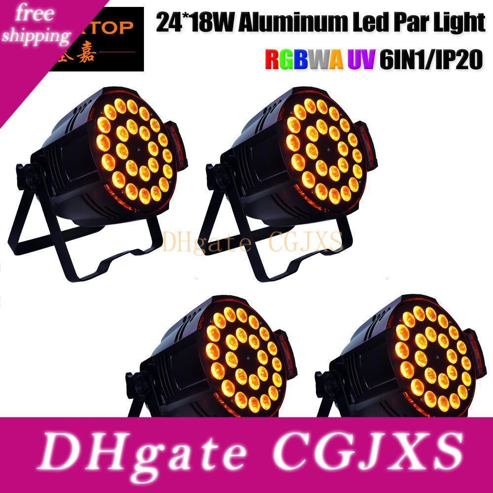 Precio de descuento 4 unidades LED etapa luz Rgbwap 24x18w Latas Etapa par LED Bombilla bola mágica de cristal de aluminio DMX luz de la igualdad 110 -240V Disco Club