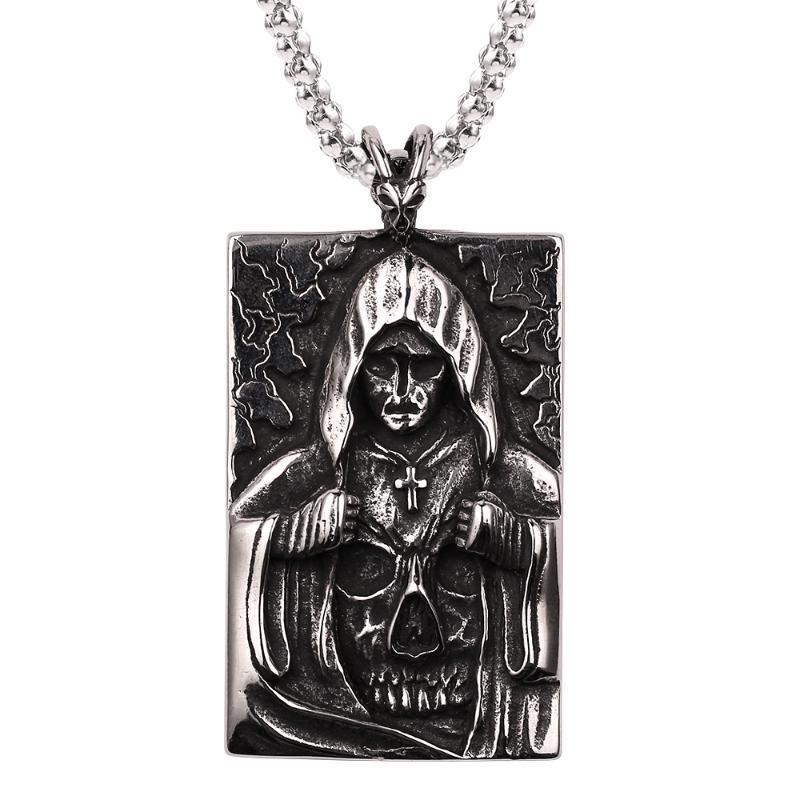 Religious square brand necklace masked goddess Christian cross skull skeleton pendant chain necklace men and women punk wholesal