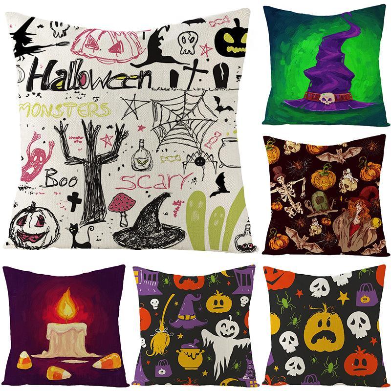 Halloween linho fronha gráfico abóbora Fantasma Fogo das Bruxas Início Sofá Decoração Car Suprimentos Almofada cintura Pillowcase