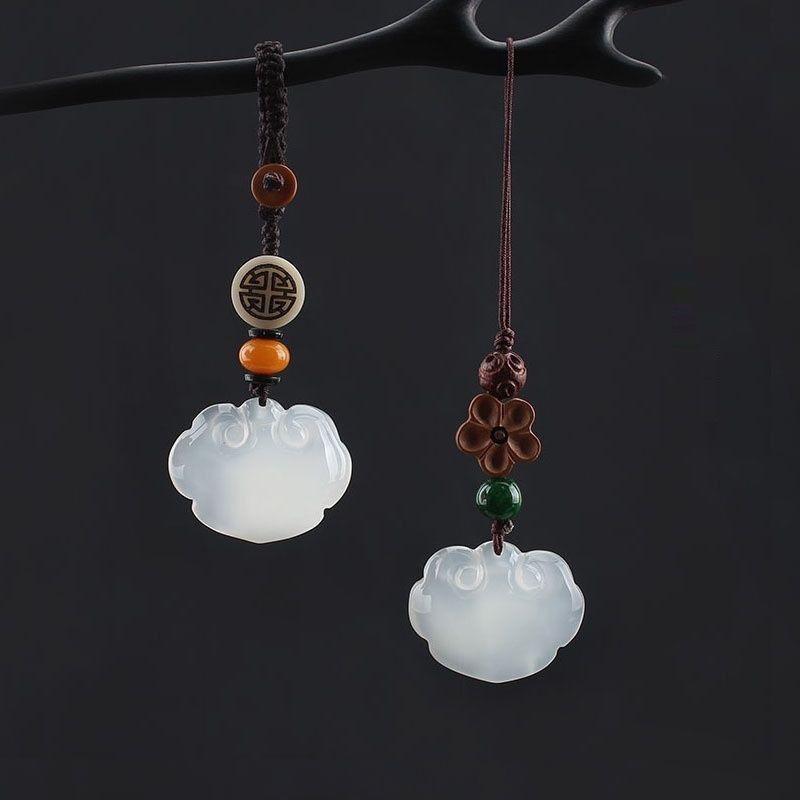 BPBq7 porte-clés de voiture calcédoine agate ornement pendentif Ping'an Ruyi serrure sac agate de femmes et pour les hommes de pendentif et chaîne ornement