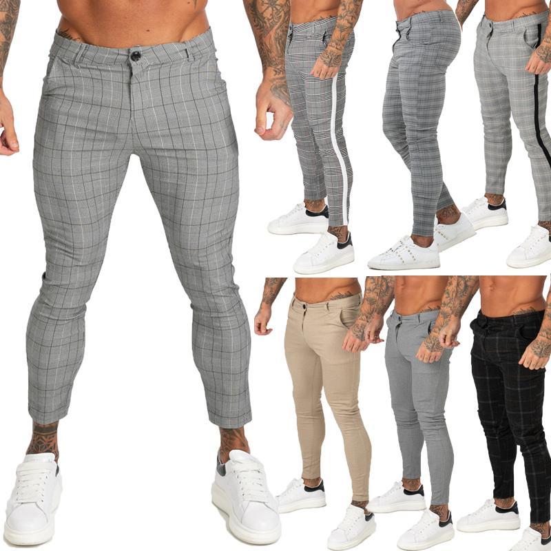 GINGTTO Hombres Chinos Pantalones flacos de Super Stretch Chino pantalones para hombre delgado Fit ocasional de las bragas de la tela escocesa gris elástico de la cintura moda de Londres LJ200827