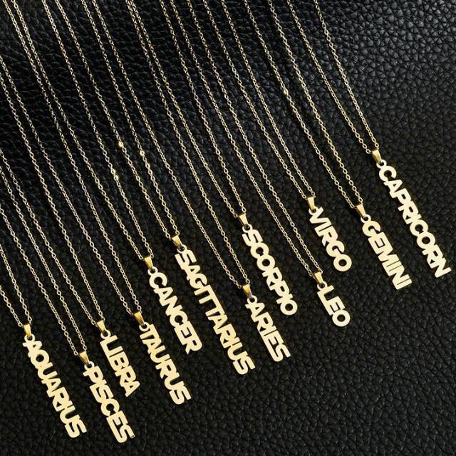شخصية 12 القلائد علامة زودياك، 18 K الذهب مطلي، وارتفع الذهب والفضة والمجوهرات مصنع الصلب wholesalstainless للنساء والرجال.