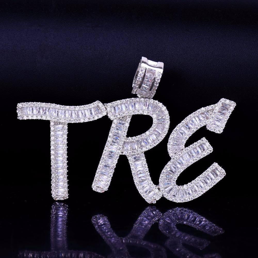 Hip Hop Personalizado Nome Baguette Letras Colar Pingente Com Corrente Livre Corrente Ouro Prata Bling Zircônia Homens Pingente Jóias