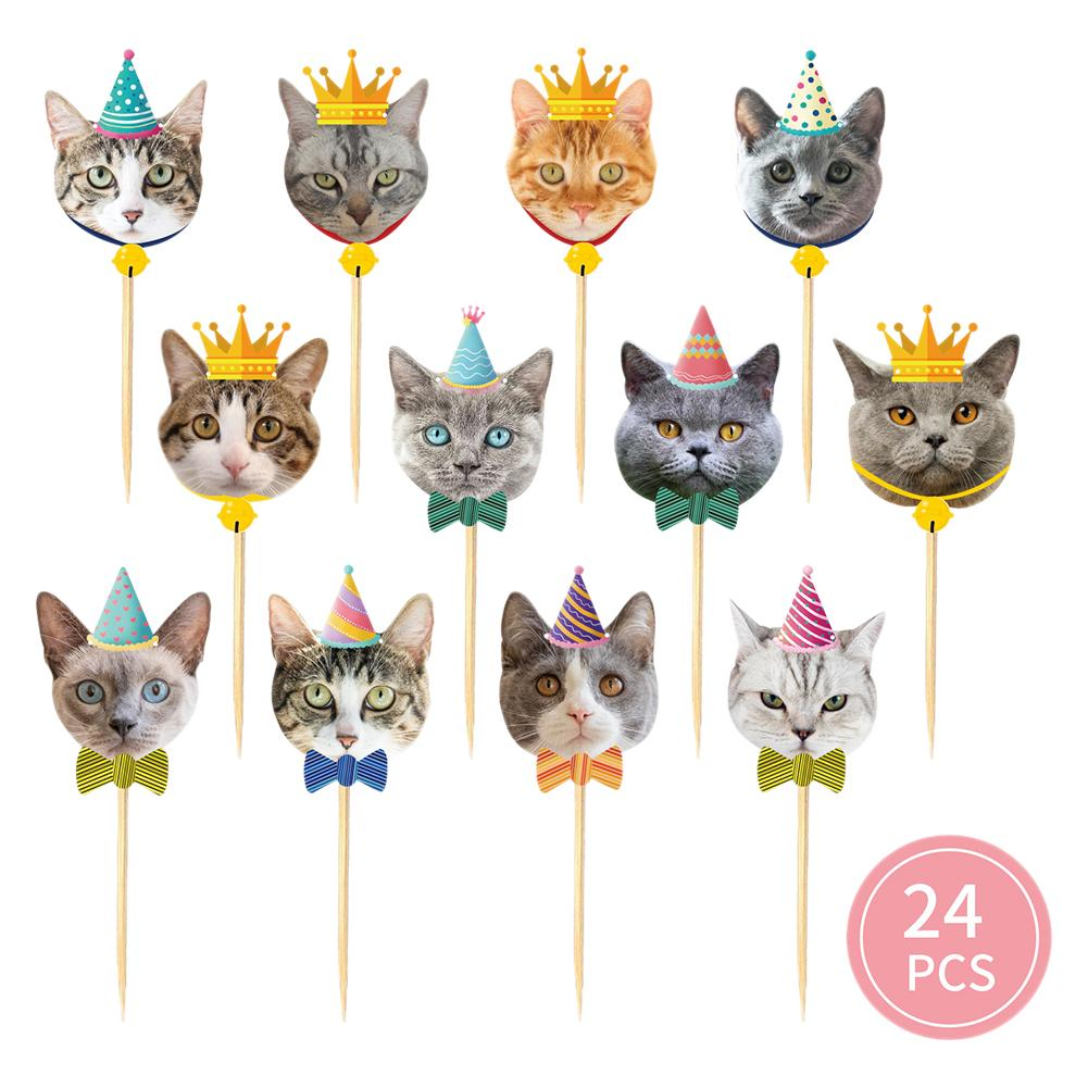 24pcs Props Birthday Pet Theme Non Toxic Cupcake Toppers Party Decor Cats Face