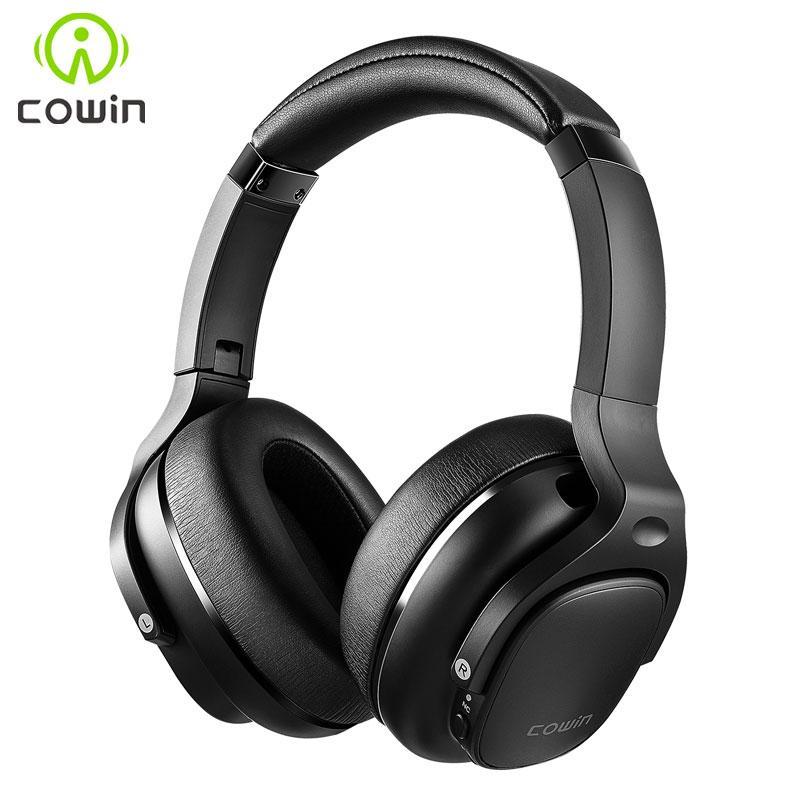 COWIN E9 o Active Noise Cancelling Headphones Fones de ouvido Bluetooth Wireless Headset sobre a orelha com som do microfone APTX HD