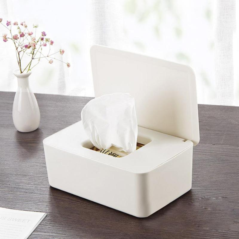 Solid Color Rechteckige Serviette Aufbewahrungsbehälter Papierspender für Badezimmer Küche und Büro Schwarz Weiß-Rosa-Grau / 2
