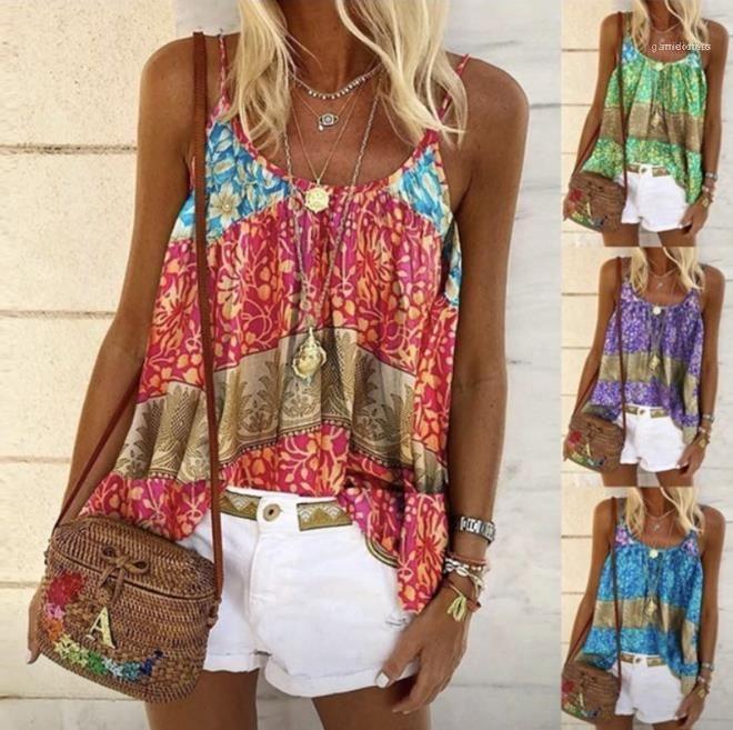 Tripulación del multicolor camisolas Mujer ropa suelta para mujer de diseño impreso tanques sin mangas Fit cuello más el tamaño de las tapas