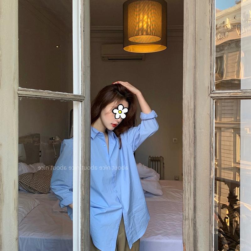 Рубашка Корейский стиль новой весны голубой Топ сплошной цвет с длинными рукавами рубашки xZs9L 2020 Женские свободные похудение все-матч Мода топ