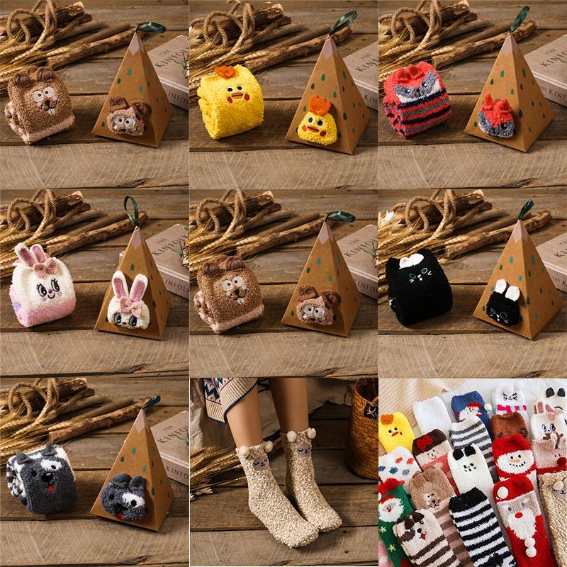Calzini di animali di Natale per bambini Super Carino Coral Fleece Calze calde per donna e bambini con pacchetto
