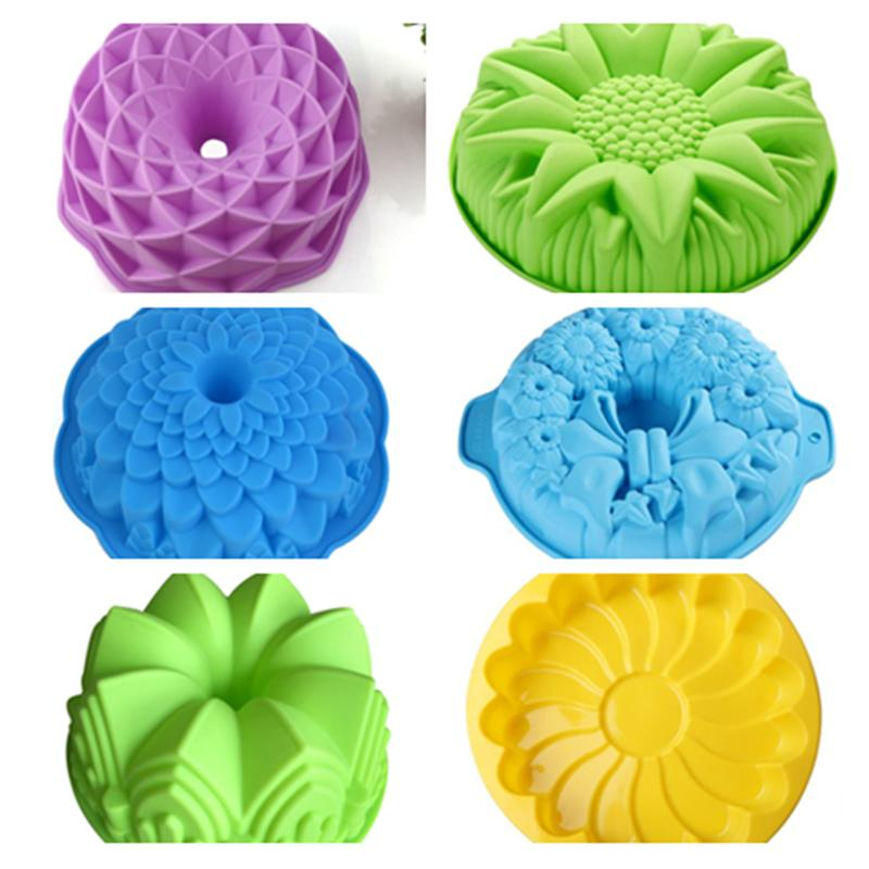 Silicone Big Cake Molds Flower Crown Shape Cake Bakeware Baking Tools 3D Bread Pastry Mould Pizza Pan DIY Birthday Wedding