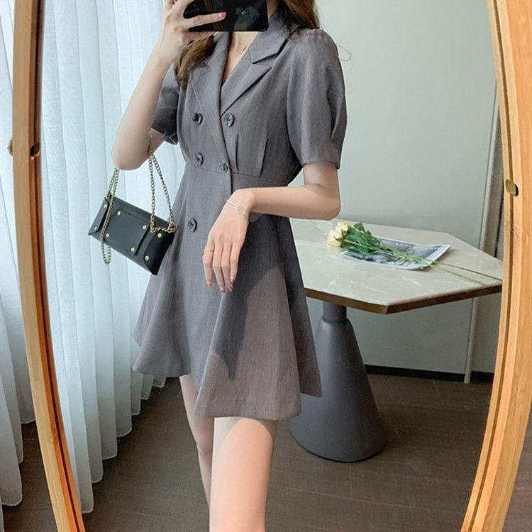 vestito 2020 estate nuova vita che dimagrisce il temperamento di HdWNm donne doppiopetto coreana di disegno del vestito da nicchia