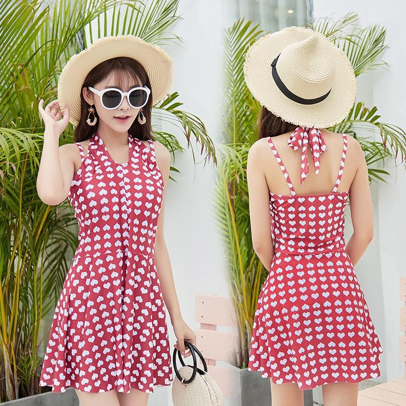 3heMd PdcAr small boxer style meat-covering slimming swimsuit women's chest polyester ins skirt gathered swimsuit 87769