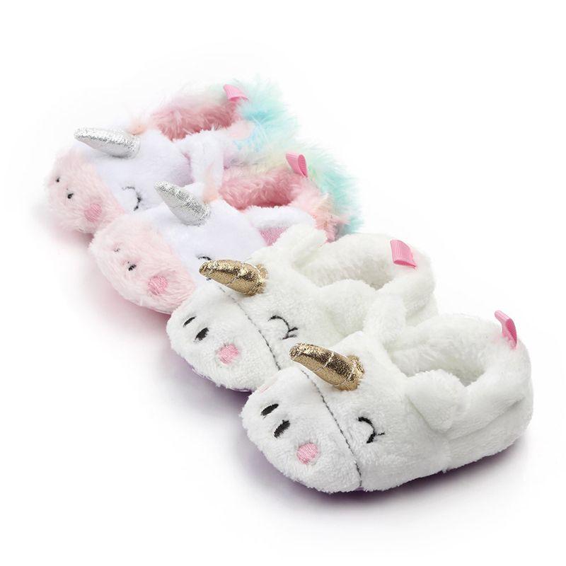 첫 번째 워커 유아 신생아 신생아 유니콘 아기 크롤링 신발 소년 소녀 양고기 슬리퍼 Prewalker 트레이너 모피 겨울