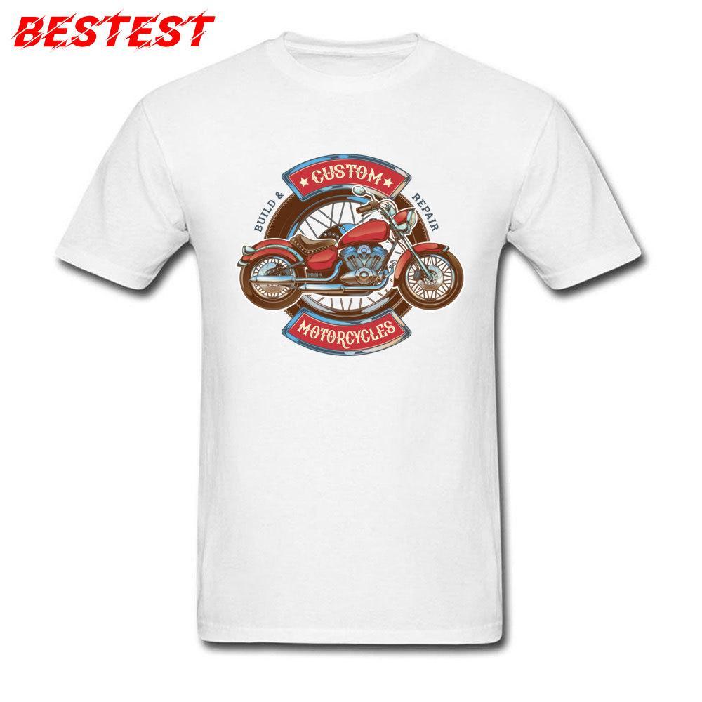 Shirt personnalisé Motocycles hommes blanc T-shirts Moto Biker Hauts Vêtements Funky Vintage T-shirt Taille Plus Vêtements étudiants Classique
