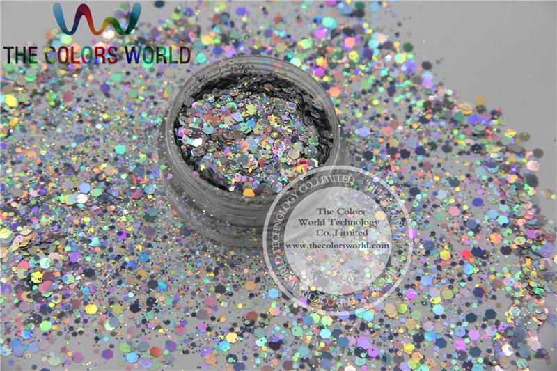 H1214-117 Устойчивые растворители Голографические серебряные Цвета Шестигранник Форма Глиттер для ногтей Акриловые и DIY Поставки