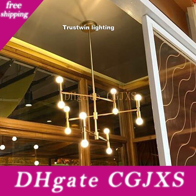 Moderne linéaire Ligne plafond Lustre Lumière Bronze Rotatif Or réglable Suspendu Lampe pour manger Salon Hall d'entrée