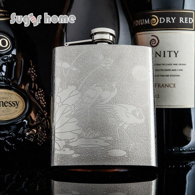 Mealivos Chinese style Red-crowned cranes 7 oz Stainless Steel Hip Flask Alcohol Liquor Whiskey Bottle gifts wine pot drinkware qnVU#