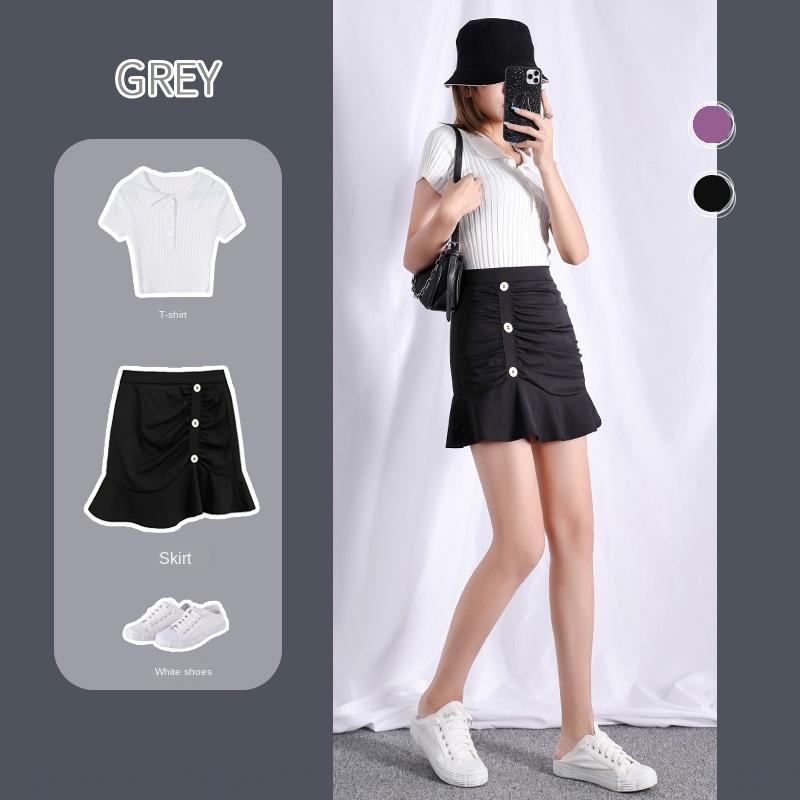 Vj6vb 2020 verano nuevo estilo ajuste delgado coreano alta cintura cadera cubierta sólida línea de color A- A- línea de vestidos de sirena de la espina de pescado de cola de pescado falda