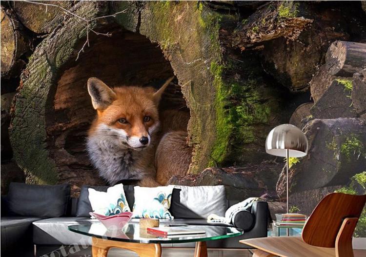 La foto de encargo fondo de pantalla de Fox animales telón de fondo fondo de pantalla 3D estereoscópico 3D para los niños que viven dormitorio sala de TV de la pared