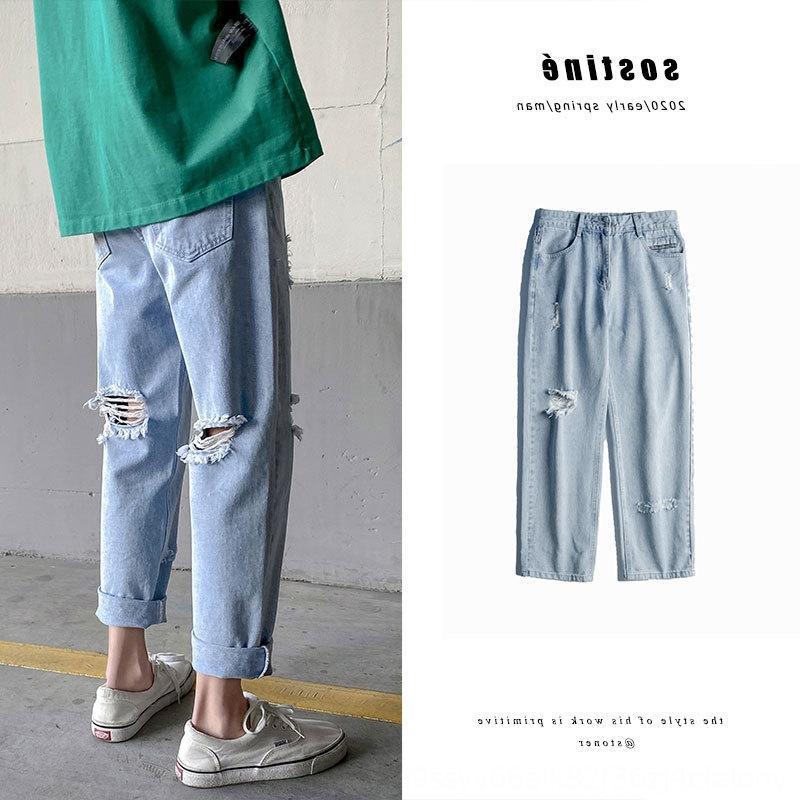 jeans strappati uomini us0jt D ins dritte pantaloni e pantaloni di colore chiaro bello mendicante pantaloni alla caviglia perdono alla moda tutto-fiammifero casuale