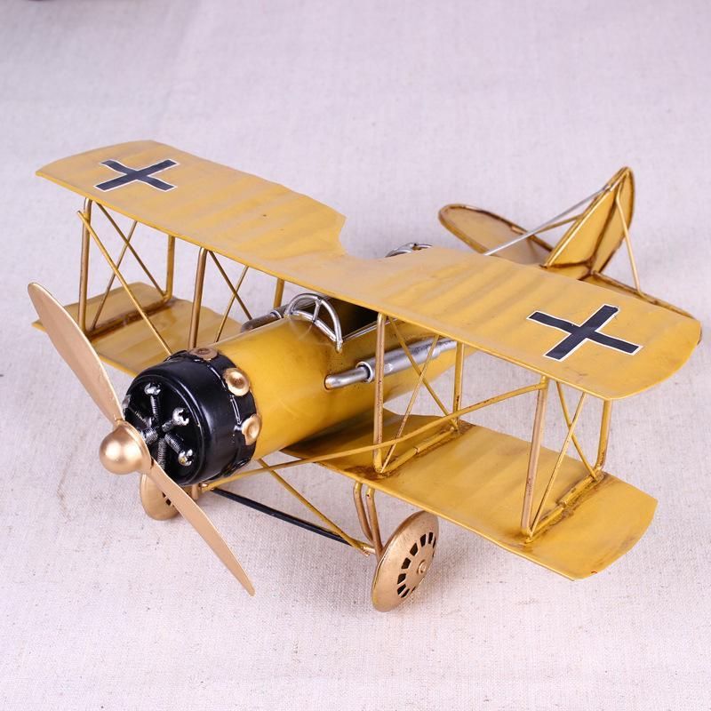 Vintage metallo piano casa ornamenti modello dei velivoli giocattoli per i bambini aeroplano in miniatura modelli retrò decorazione domestica creativa